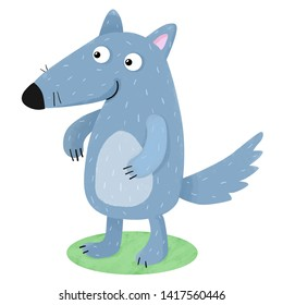 Forest character. Funny wolf. Illustration for children. forest animals.