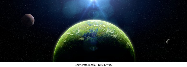 forest exoplanet, jungle exoplanet in a distant star system (3d space illustration banner)