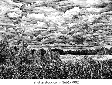 Forest and field nature view of Russian nature with clouded sky. Black and white dashed style sketch, line art, drawing with pen and ink. Retro vintage picture.