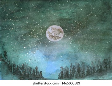 Forest in the fog, hills. Silhouette of flying birds. Moon in starry sky. Hand-drawn, watercolor texture. Turquoise background.