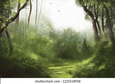 Forest illustration of cloudy dull day in the forest with birds flying in the sky