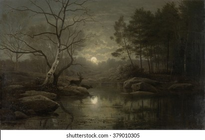 Forest Landscape in the Moonlight, by Georg Eduard Otto Saal, 1861, Dutch painting, oil on canvas. Autumn night scene with deer at stream.