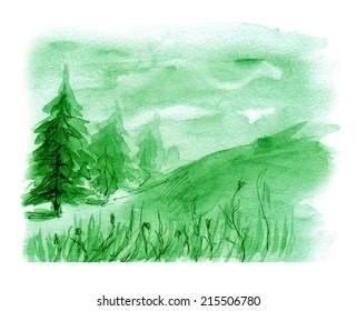 Forest landscape, watercolor painting