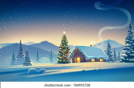 Forest landscape with winter house and festive christmas trees. Raster illustration.