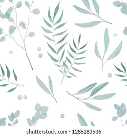 Forest leaves seamless pattern. Watercolor illustration of fern, willow, osier, sallow.