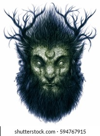 Forest magic character  fawn deer with antlers, a beard and long hair fantasy illustration