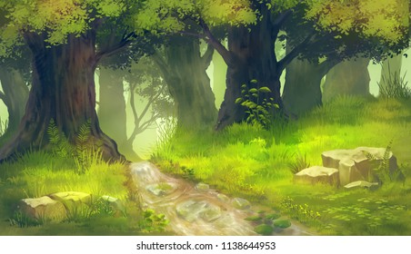 Forest nature painting background.