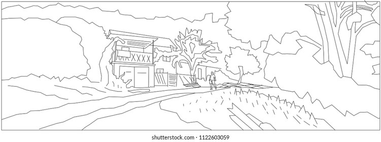 country house surrounded by tree contour stock illustration Farm House 1890 forest and old house with standing man contour drawing art
