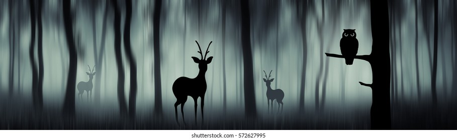 Forest panorama with animal silhouettes. Deer and owl in panoramic format woods landscape, forest wildlife