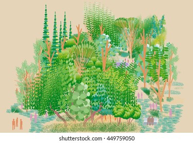 Forest Park Illustration in Digital Folk Art Style