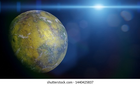 forest planet, green and biologically active alien planet in a distant solar system (3d space rendering)
