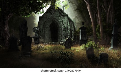 Forest scenery with tombstones and old crypt. 3D illustration.