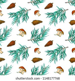 Forest seamless pattern - a branch of pine, cones and mushrooms separately on a white background. Hand drawn endless illustration in retro style. Good for fabric, wrapping paper, prints etc.