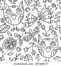 Forest seamless pattern. Doodle background with flowers, leafs, owls. Monochrome cute background