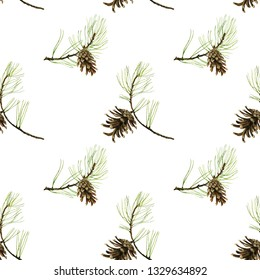 forest seamless pattern with pine cones and green branches drawing in watercolor at white background, hand drawn botanical illustration