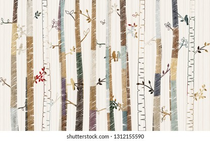 Forest tree pattern on decorative background wallpaper