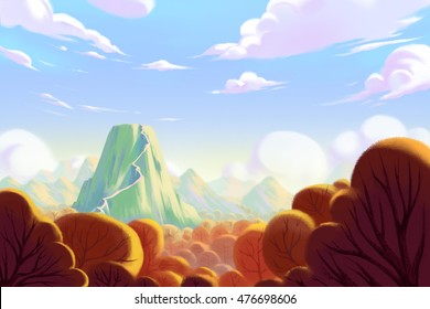 The Forest under the Foot of Mountain. Video Game's Digital CG Artwork, Concept Illustration, Realistic Cartoon Style Background