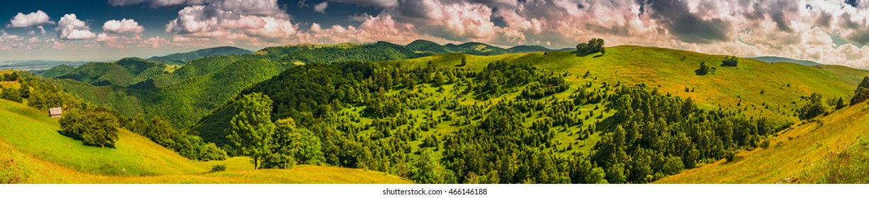 Forested mountains peaks and grazing. Paltinis resort area, Cindrel mountains, Romania, 1077m. Can be used for canvas / acrylic prints. Modern oil painting illustration art. High-resolution.