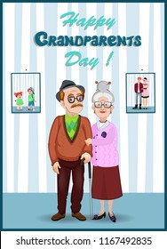 Forever together greeting card. Grandparents day cartoon characters of elderly couple holding hands. Granddad and grandmom in the room with their young and grandchildren photo on the wall.
