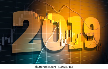 Forex candlestick pattern. Trading chart concept. Financial market chart with 2019 yeae number. 3D rendering