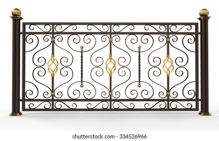 Forged fence on white background. 3d render