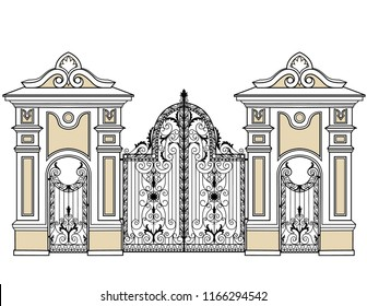 forged gate and wickets on a white background