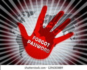 Forgot Password Hand Shows Login Authentication Invalid. remember Login Security Verification - 3d Illustration