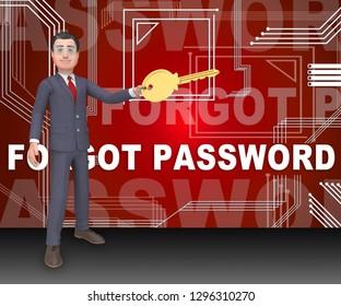 Forgot Password Sign Shows Login Authentication Invalid. remember Login Security Verification - 3d Illustration