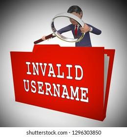 Forgot Username Folder Means Wrong Userid Entered. Online Access Id Security Error - 3d Illustration