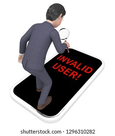Forgot Username Phone Means Wrong Userid Entered. Online Access Id Security Error - 3d Illustration