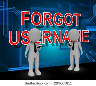 Forgot Username Sign Means Wrong Userid Entered. Online Access Id Security Error - 3d Illustration
