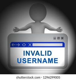 Forgot Username Webpage Means Wrong Userid Entered. Online Access Id Security Error - 3d Illustration