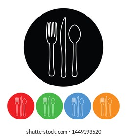 Fork knife and spoon icon black circle design element with an outline style raster version silverware illustration with four color variations isolated on a white background