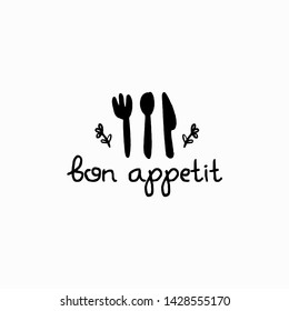 Fork Knife Spoon Logo with the words Bon Appetit. Graphic logo for home baking. Monochrome kitchen attributes icon in hand draw, Doodle style.