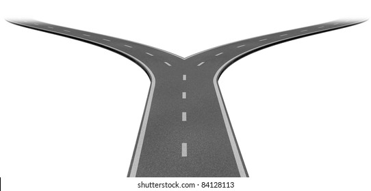 Fork in the road or highway business metaphor representing the concept of a strategic dilemma choosing the right direction to go when facing two equal or similar options.