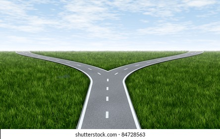 Fork in the road horizon with grass and blue sky showing a fork in the road representing the concept of a strategic dilemma choosing the right direction to go when facing two equal or similar options.