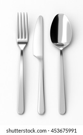 Fork, spoon and knife. Photo realistic 3D illustration. Cutlery, kitchen silverware. For use in menu, restaurant printables, web site.