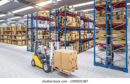 forklift carries a pallet with parcels in a warehouse full of goods. 3d rendered image. Industry concept, e-mail expeditions.