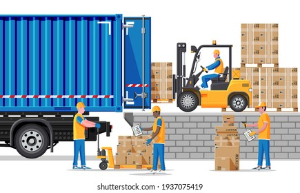 Forklift loading pallet boxes into truck. Warehouseman with checklist. Electric uploader loading cardboard boxes in delivery car. Logistic shipping cargo. Storage equipment. Flat illustration