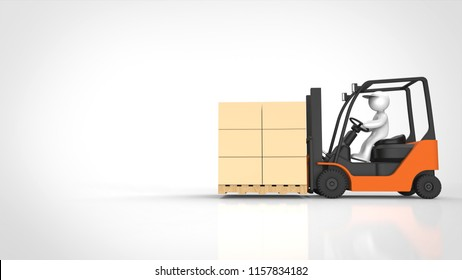 forklift and man and cardboard right 3d rendering