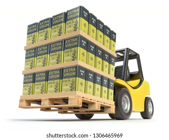 Forklift with olive oil cans with abstract label on white background - 3D illustration