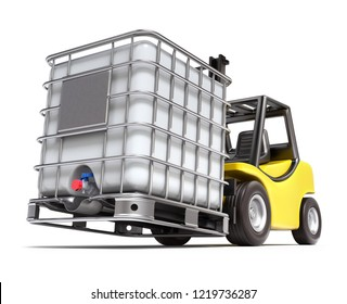 Forklift with plastic water storage tank - 3D illustration