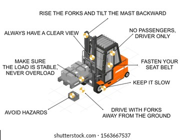 Forklift safe drive. Infographic with tips for safe forklift driving. Raster.
