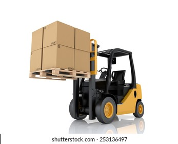 Forklift truck with boxes on pallet. Cargo. 3d render on white background