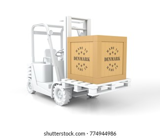 Forklift Truck with Made in Denmark Wooden Box on Pallet. 3D Rendering