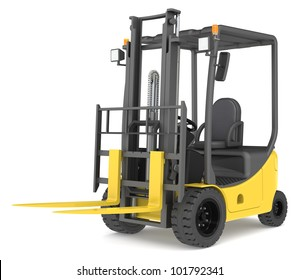 Forklift Truck. Forklift Truck on white background. Warehouse and logistics series.