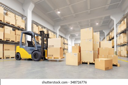 Forklift truck in warehouse. 3d illustration.