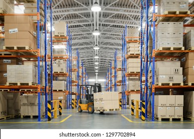 Forklift truck in warehouse or storage and shelves with cardboard boxes. 3d illustration