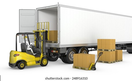 Forklift unloads or loads white blank semi-trailer isolated on white background