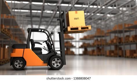 Forklift in Warehouse - 3D Rendering